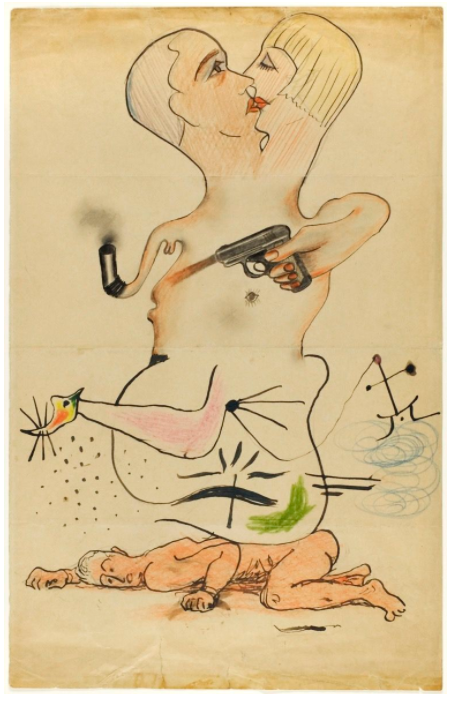 Man Ray, Joan Miró, Yves Tanguy, and Max Morise, Exquisite Corpse, 1928. © 2018 Man Ray Trust / Artists Rights Society (ARS), New York / ADAGP, Paris. © 2018 Sucessió Miró / Artists Rights Society (ARS), New York / ADAGP, Paris. Image courtesy of the Art Institute of Chicago.