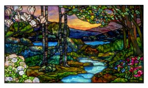 LANDSCAPE WINDOW WITH MAGNOLIAS, HYDRANGEAS AND AZALEAS, CIRCA 1915