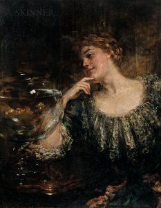 James Carroll Beckwith (American, 1852-1917) The Fishbowl