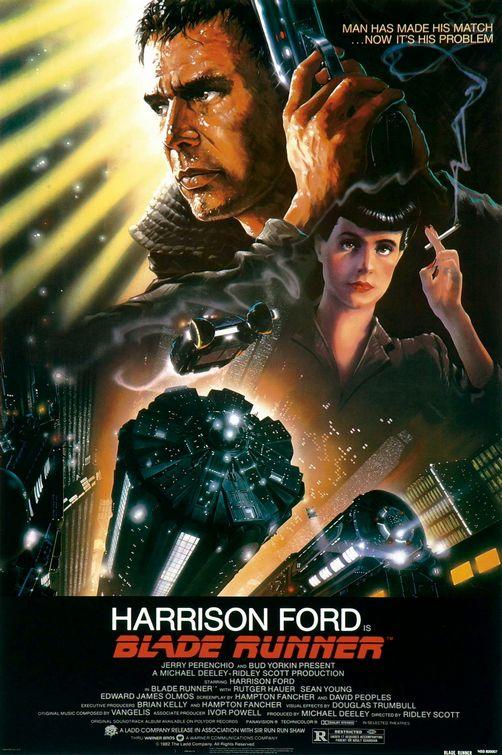 Movie poster for Blade Runner (1982), designed by John Alvin. Image from John Alvin Art.