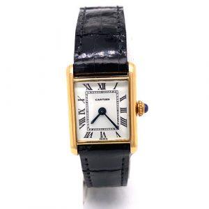 18k Cartier Santos Black Leather Wrist Watch