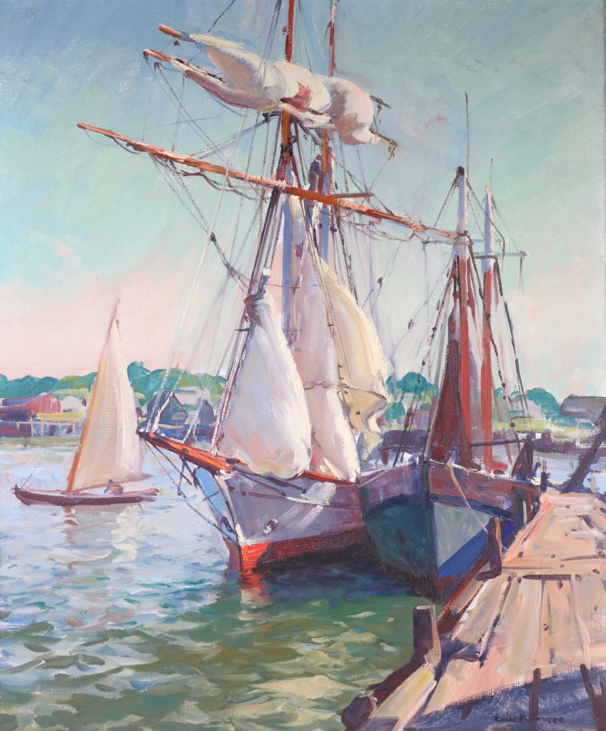 Oil on canvas maritime scene by Emile A. Gruppe, titled The Yankee (est. $5,000-$7,000).