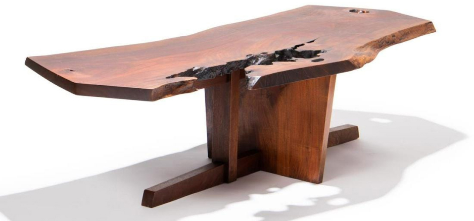 1966 walnut Minguren coffee table with rosewood butterfly and several free and raw edges by George Nakashima, one of five Nakashima pieces in the sale ($74,400)