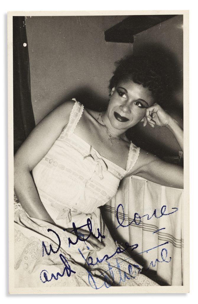 Katherine Dunham, large group of letters by the modern dance star to a close friend, 1946–62. Sold for $35,000.