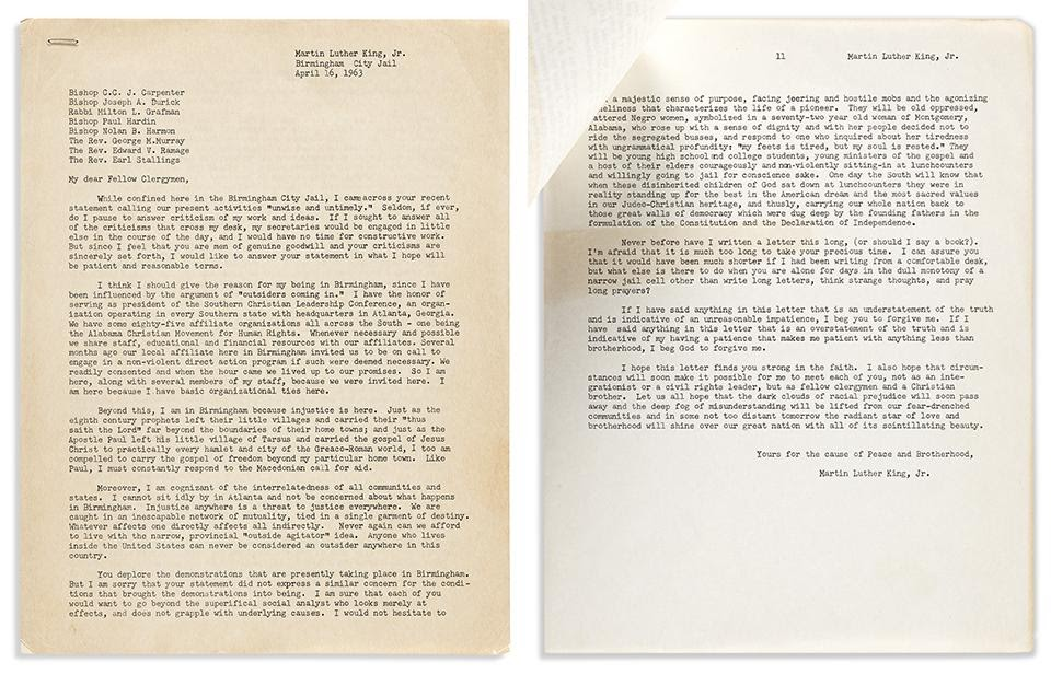 Dr. Martin Luther King Jr., early draft of the Letter from Birmingham Jail, April 1963. Sold for $185,000.