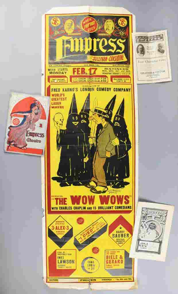 """One of the earliest and rarest Charlie Chaplin posters to ever come to market, from 1913, a broadside advertising a comedy show for """"The Wow Wows"""" in San Diego ($12,810)."""