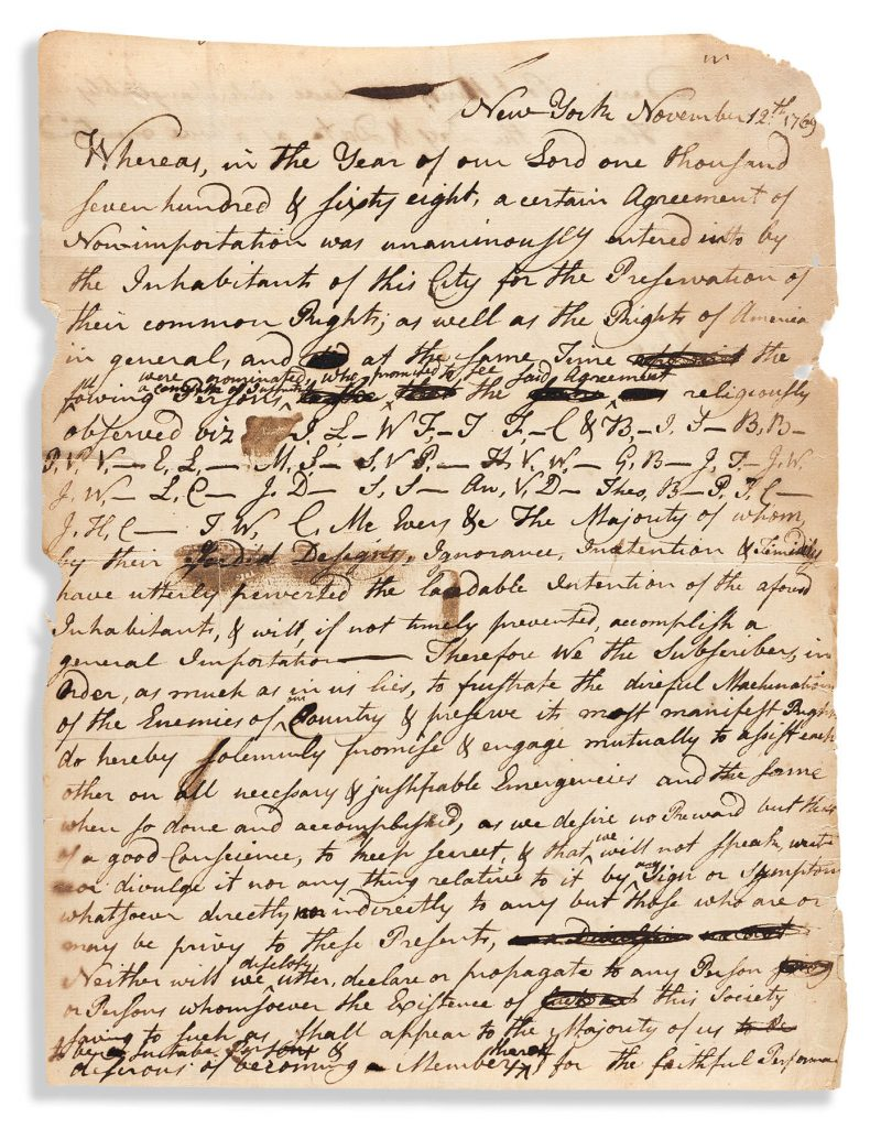 """Manuscript document to enforce New York's """"Agreement of Non-Importation"""" during the heyday of the Sons of Liberty, New York, 1769. Estimate $10,000 to $15,000."""