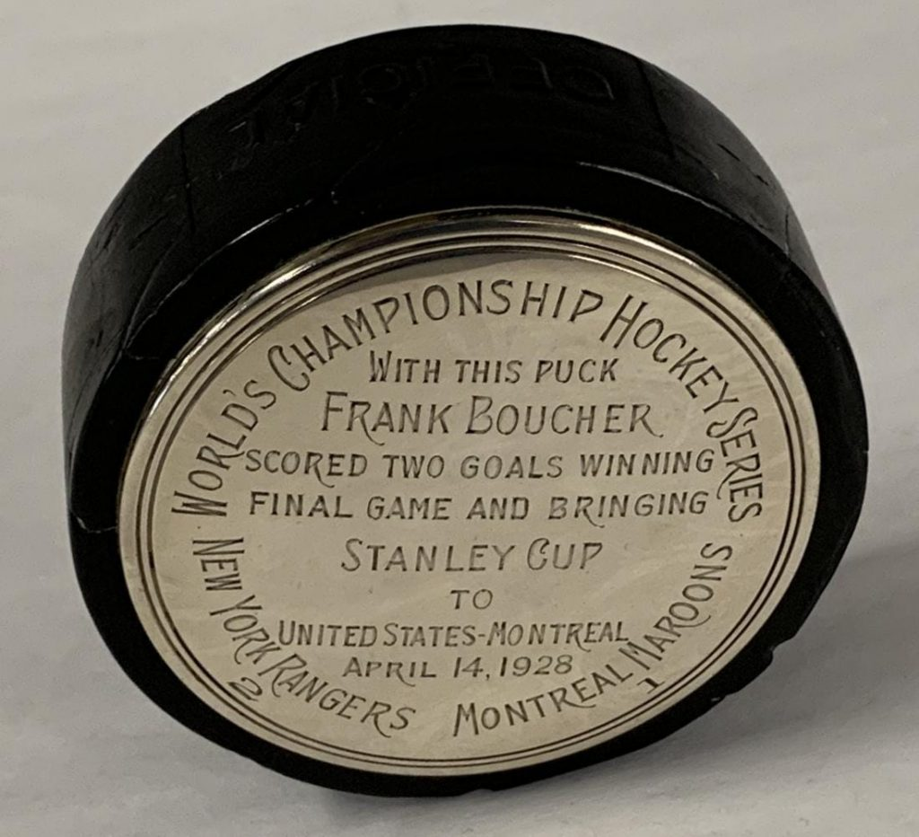 Hockey puck used in the final Stanley Cup Game in 1928, won by the New York Rangers, 2-1, over the Montreal Maroons, where both goals were made by Frank Boucher ($66,000).