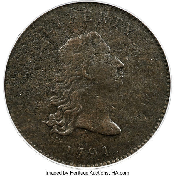 1794 No Stars Flowing Hair Dollar in Copper Unique Judd-18 Pattern, VF25 'First Dollar Struck at the Mint'