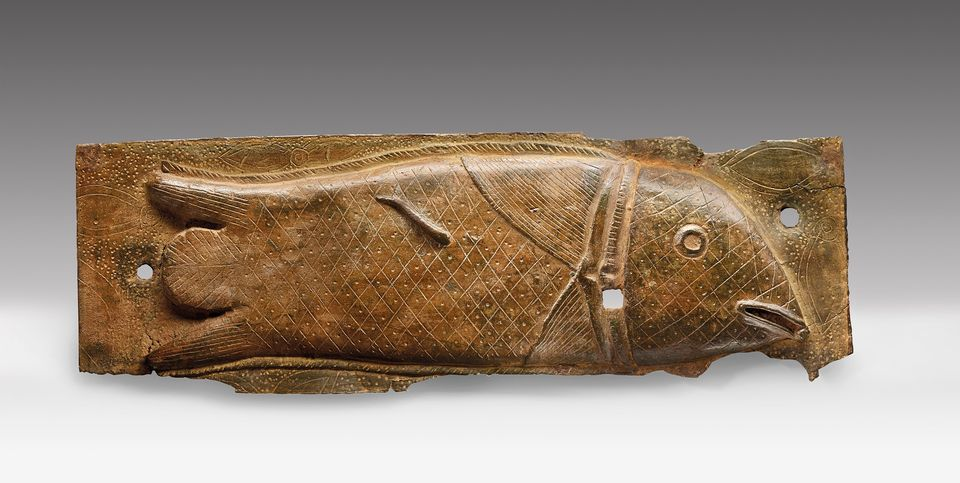 Edo bronze plaque made in the Kingdom of Benin. Image courtesy of Christie's.