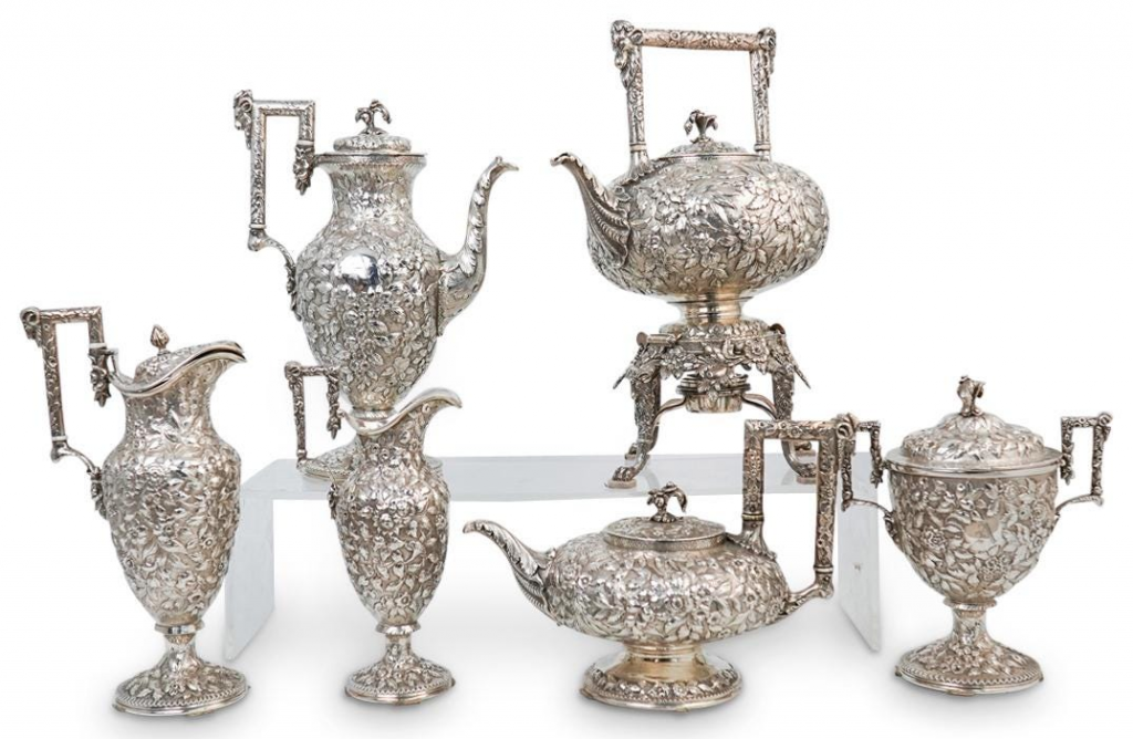 S. Kirk & Sons Sterling Silver Repousse Tea Set