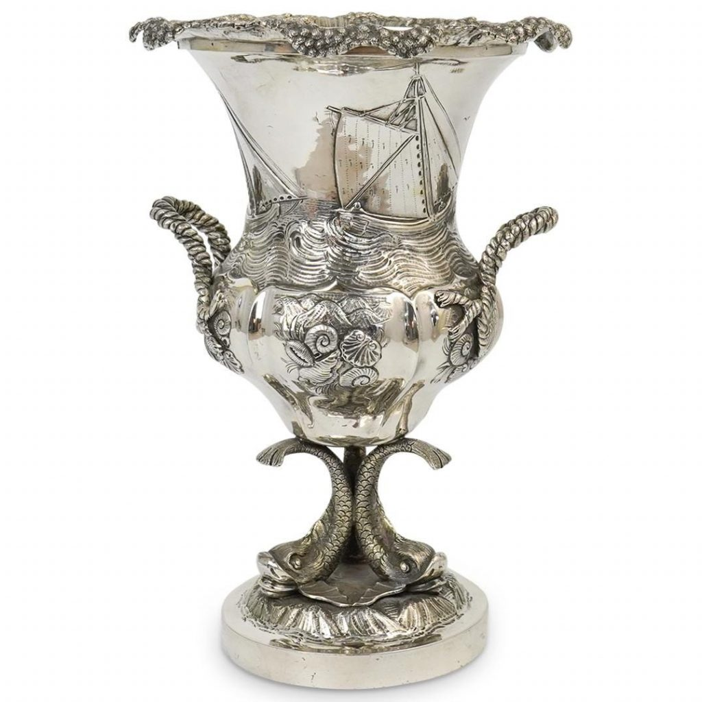 English J.E Terry Sterling Silver Dolphin Vase