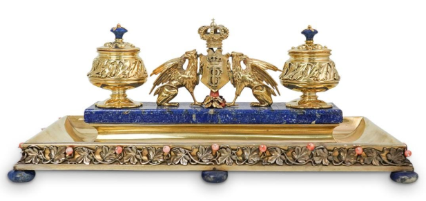 19th-century silver royal inkstand. Photo from Akiba Antiques.