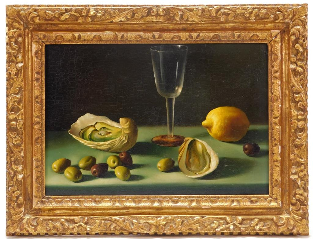 Trompe l'oeil oil on board still life painting signed by Fernand Renard (French, b. 1912), depicting exquisitely rendered oysters beside a lemon, plus olives (est. 2,000-$4,000).
