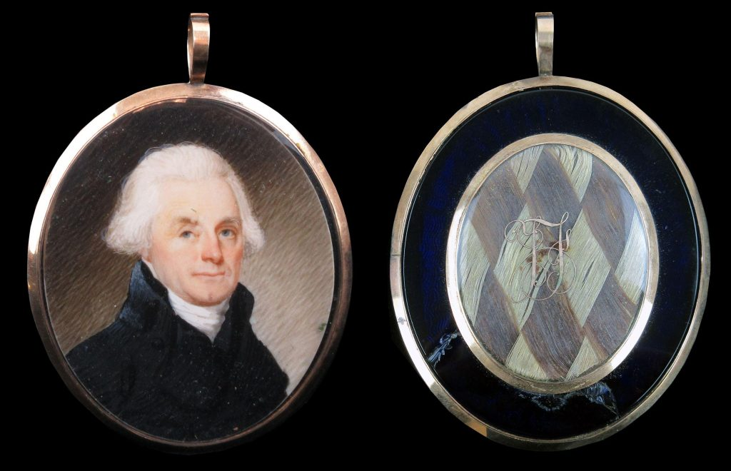 Exquisite portrait miniature of Thomas Jefferson attributed to the British miniaturist Robert Field (1769-1819), along with two locks of hair (one of them Jefferson's) (est. $60,000-$500,000).