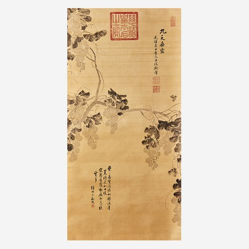 Attributed to Empress Dowager Cixi, Grapes, ink on silk, hanging scroll. Estimate $15,000-$25,000