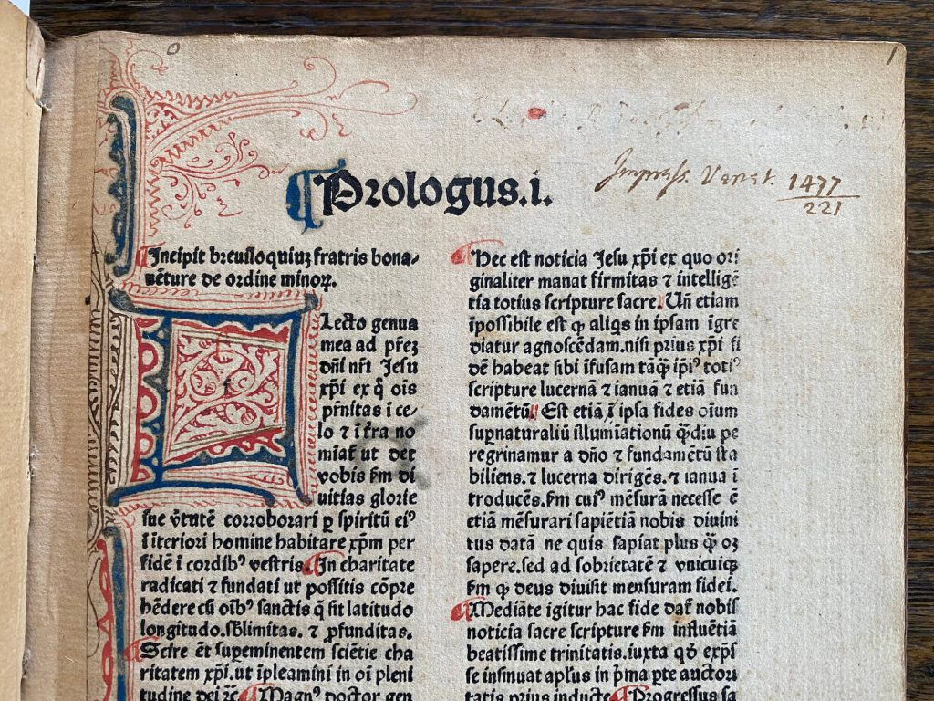 Hanapis, Nicolaus de. S. Bonaventure, Breviloquium Biblia Pauperum-Venice-1477