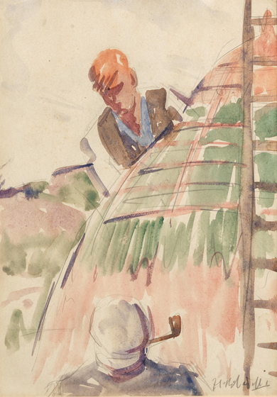 Francis Campbell Boileau Cadell (1883-1937), Tying the Rick. Photo from Bonhams.