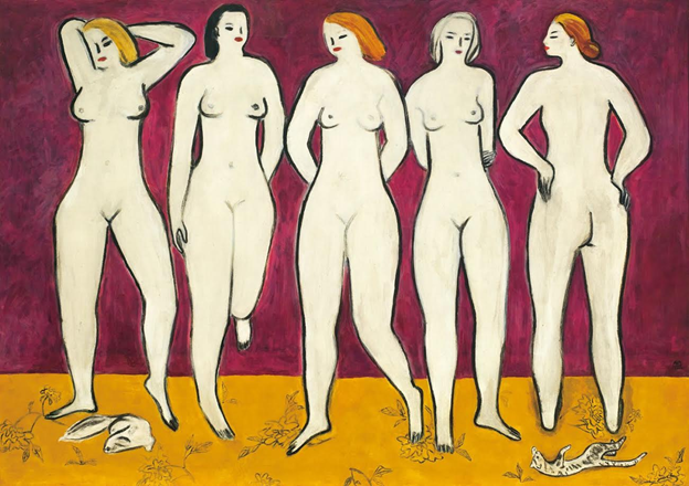 Sanyu (Chang Yu), Five Nudes, 1950s. Image from Christie's
