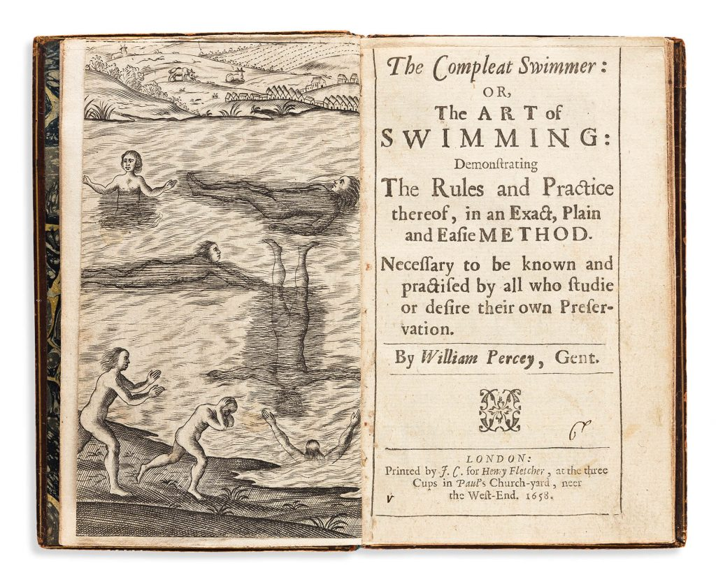 Everard Digby, trans. William Percy, The Compleat Swimmer or the Art of Swimming, first edition, London, 1658. Estimate $6,000 to $9,000.