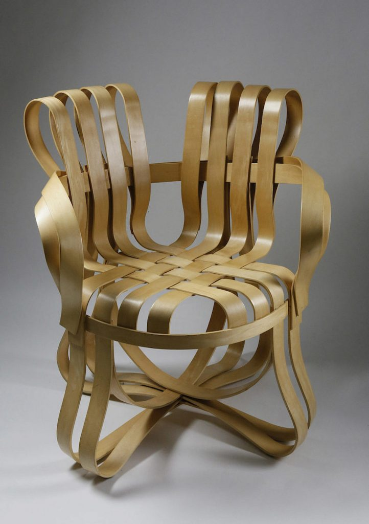 """Frank Gehry for Knoll. Signed Apple Basket """"Cross Check"""" armchair, circa 1999. Lot 176 Est. $1,500 -$2,500 (one of two Frank Gehry lots)"""