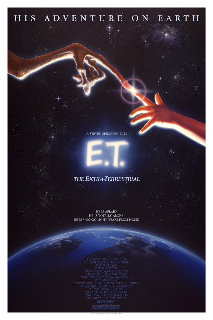 Movie poster for E.T. the Extra-Terrestrial (1982) designed by John Alvin. Image from Bottleneck Gallery.