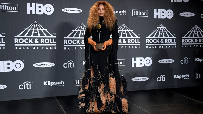 Janet Jackson being inducted into the Rock & Roll Hall of Fame. Photo by Michael Loccisano for Getty Images.