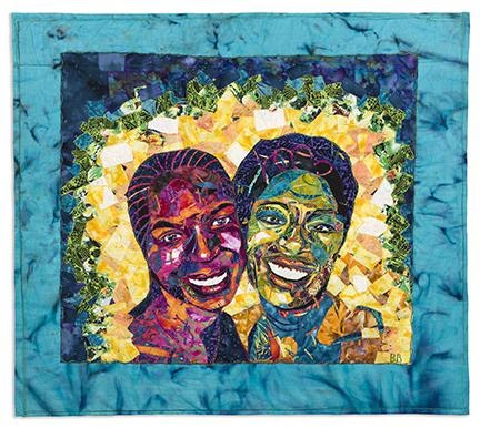 Bisa Butler, Nandi and Natalie (Friends), quilted and appliquéd dyed cotton fabrics, 2007. Sold for $75,000, an auction debut for Butler.
