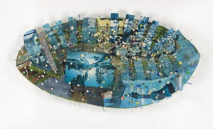Howardena Pindell, Oval Memory Series: (Rhinoceros) Heaven, tempera, gouache, postcards, punched paper, nails, fluorescent paint, glitter and thread on board, 1980–81. Sold for $100,000, a record for the artist.