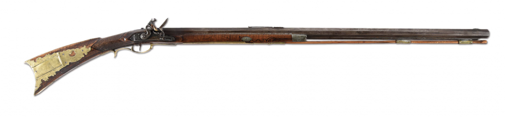 Important and historical Kentucky long rifle presented by Marquis de Lafayette to Tuscarora Iroquois Indian guide and friend Chief Tunis, who traveled with him during the American Revolution and led him on expeditions through 24 of the United States. Profusely engraved and decorated, inscribed 'Presented to Chief Tunis by Lafayette at Kingston NY 1824.' Unbroken chain of provenance traces ownership back to Chief Tunis and common-law wife Ruth Yaple. Estimate $200,000-$500,000