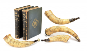 Morphys May 18 Early Arms & Militaria Auction features early American flintlock rifles and pistols, Revolutionary War sabers, French and Indian War powder horns