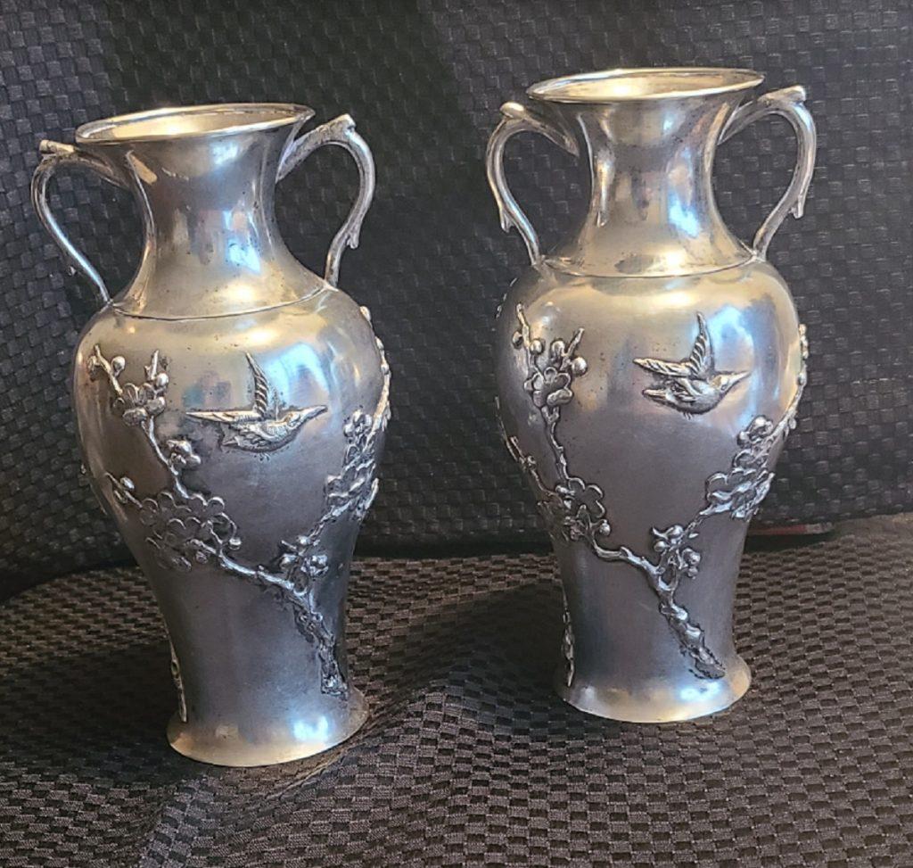 Ning Zhao Ji export silver pair vase