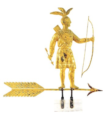 Molded and gilded-copper weathervane depicting full-bodied standing Massasoit Indian with bow and arrow atop directional arrow with molded zinc arrowhead. Made by Harris & Co., Boston, late 19th century. Estimate $200,000-$400,000