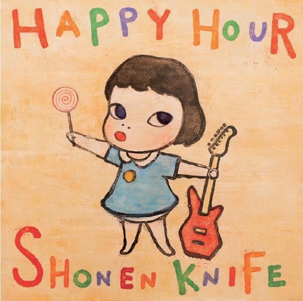 Album cover for Shonen Knife's Happy Hour (1998), designed by Yoshitomo Nara. Image from Phaidon.