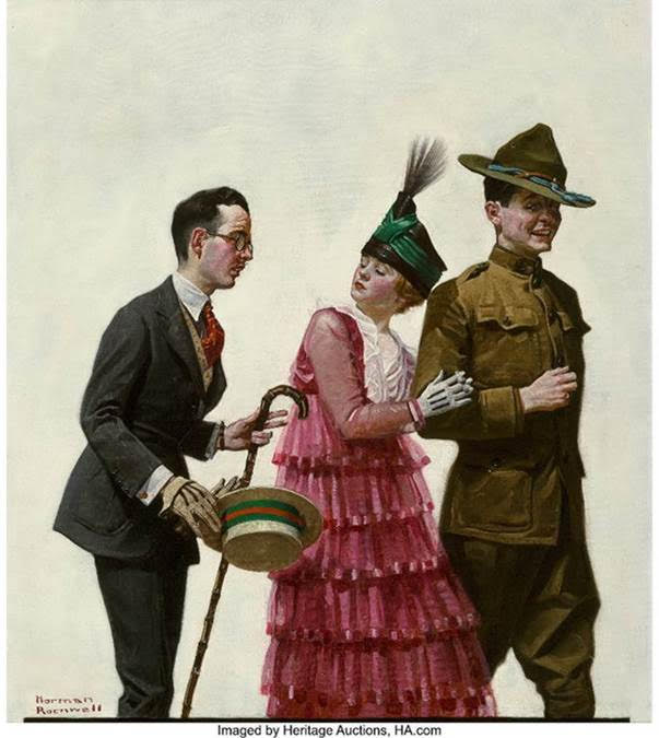 Norman Rockwell (American, 1894-1978). Excuse Me! (Soldier Escorting Woman), Judge Magazine Cover