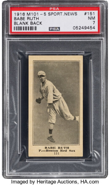 1916 M101-5 Blank Back Sporting News Babe Ruth Rookie