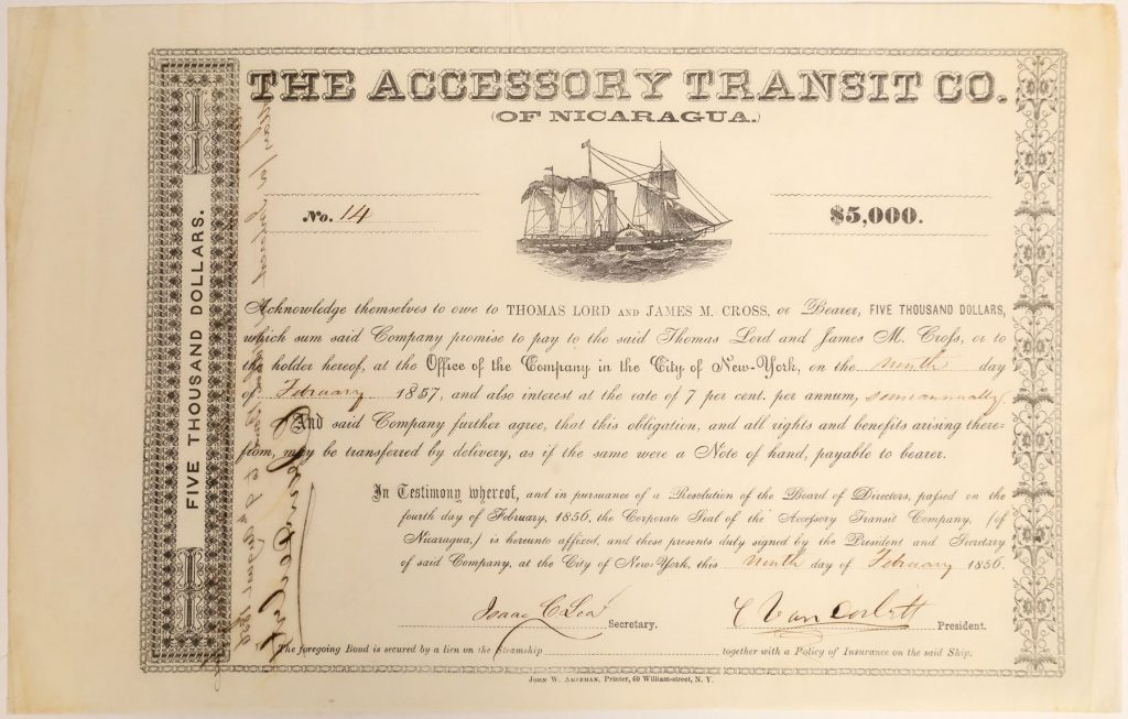 California Gold Rush-era bond signed by Cornelius Vanderbilt as president of the Accessory Transit Company of Nicaragua, issued in 1856 for $5,000, with bond number 14 ($11,250).