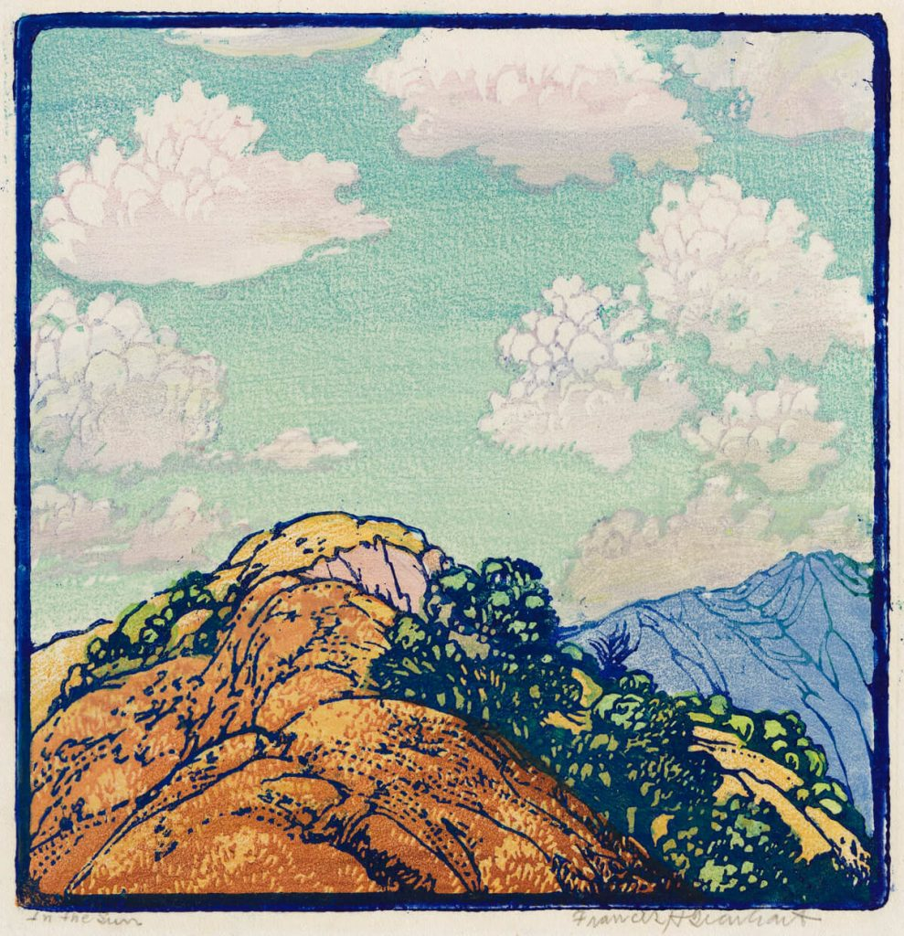 Frances Gearhart, In the Sun, color woodcut, circa 1930. Estimate $3,000 to $5,000.