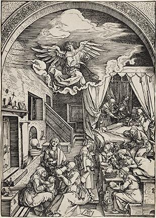 Albercht Dürer, The Birth of the Virgin, woodcut, circa 1503. Estimate $15,000 to $20,000.