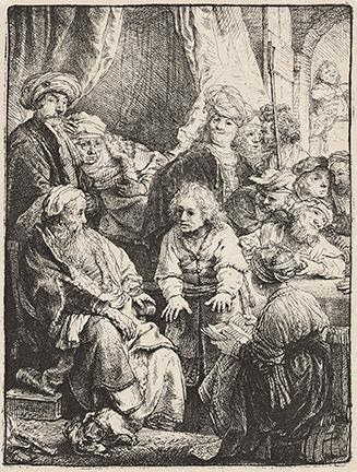 Rembrandt van Rijn, Joseph Telling His Dream, etching and drypoint, 1638. Sold for $32,500, a record for the print.