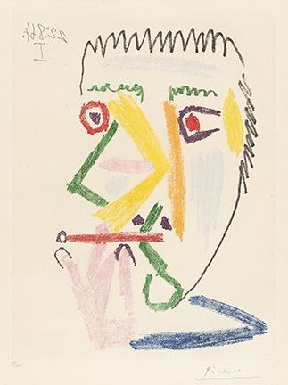 Pablo Picasso, Fumeur à la Cigarette Rouge, color aquatint, 1964. Sold for $42,500.