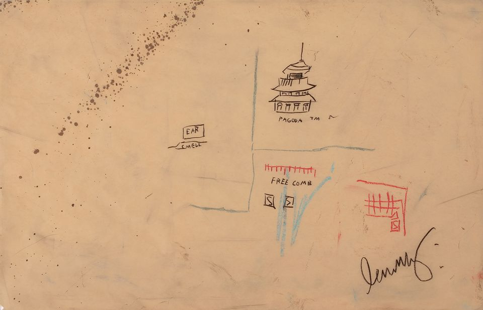 Jean-Michel Basquiat, Free Comb with Pagoda, 1986. Image from DaystromNFT.
