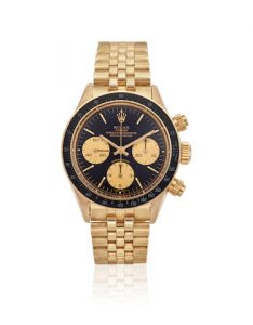 ROLEX. AN EXCEPTIONAL AND RARE 14K GOLD MANUAL WIND CHRONOGRAPH BRACELET WATCH