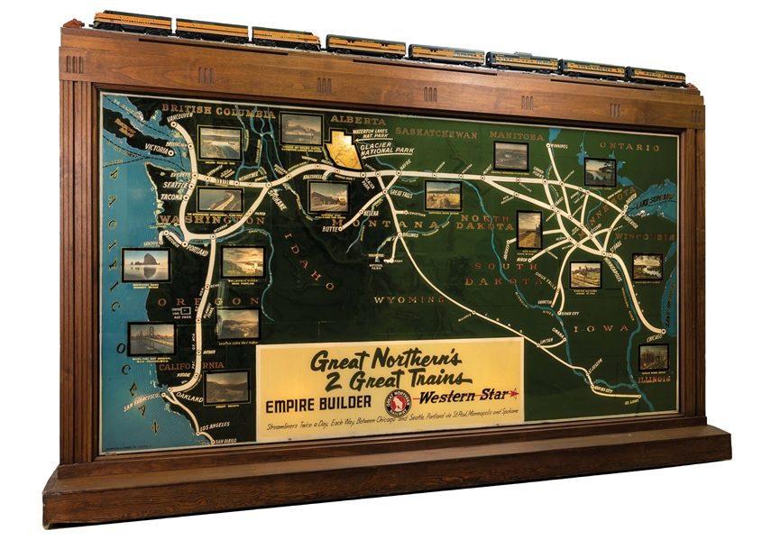Great Northern Railway reverse-on-glass advertisement promoting '2 Great Trains,' the Empire Builder and the Western Star, 79 7/8 x 31 x 22in. Saved from demolition circa 1959 by a Great Northern employee in Washington state. Estimate $75,000-$150,000