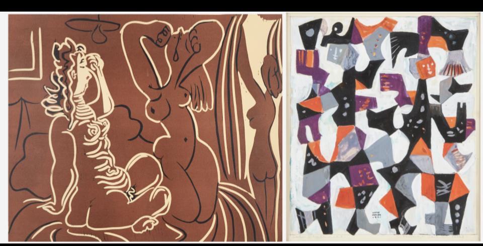 Left: Pablo Picasso, Trois Femmes, 1960. Right: Carlos Mérida, Personajes Para un Ballet, 1951. Images from Freeman's.