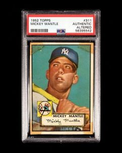 A 1952 Topps Mickey Mantle Rookie Baseball Card No. 311, PSA Authentic