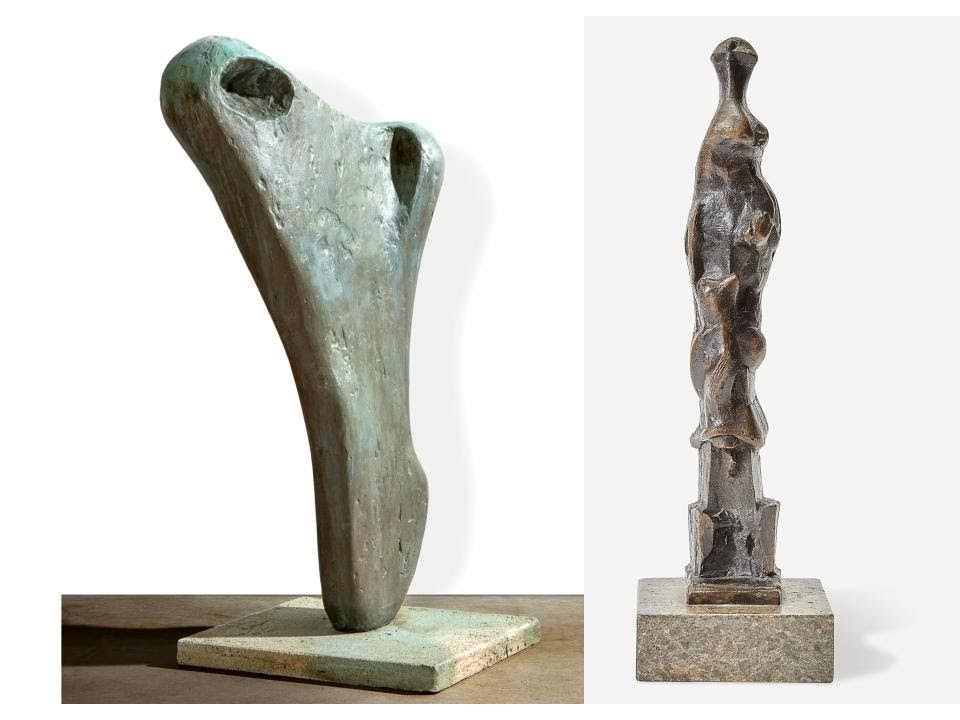 Left: Barbara Hepworth, Torso II (Torcello), 1958. Right: Henry Moore, Upright Motive E, 1968. Images from Freeman's.