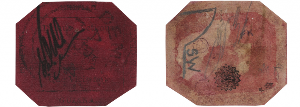 Front and back of the British Guiana One-Cent Black on Magenta. Image from Sotheby's.