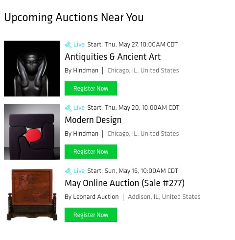 """Screen capture of Bidsquare's """"Auctions Near Me"""" page."""