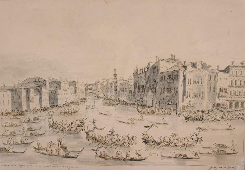 Watercolor and Ink drawing by Francesco Lazzaro Guardi (Italian, 1712-1793), titled Venetian Canal Scene (est. $20,000-30,000).